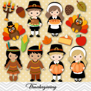 Thanksgiving Digital Clip Art, Girls and Boys Thanksgiving Clipart, 00261