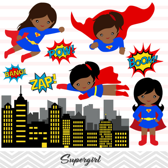 African American Super Woman Digital Clip Art, Superman Clipart, Supergirl Clipart, 0208