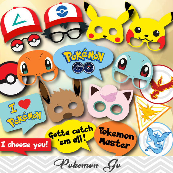 Pokemon Go Photo Booth Props, 0417