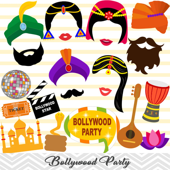 Bollywood Photo Booth Props, Indian Party Photo Booth Props, 0079