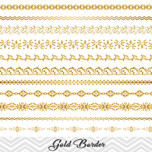 GOLD Border Clip Art, Flourish Swirl Border, Gold Flower Border Scrapbooking Embellishments Decor 00101