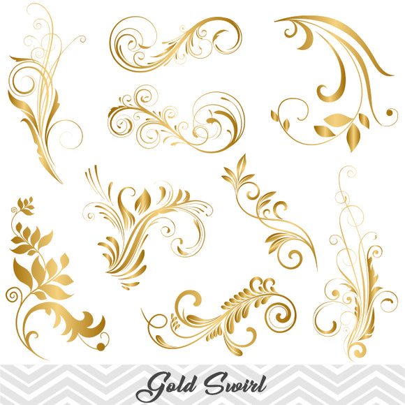 GOLD Flower Flourish Swirl Clip Art, Digital Scrapbooking Embellishments Decor, 00088