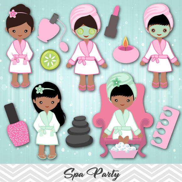 African American Spa Girls Clip Art, African American Girls Spa Party Clipart, 0199