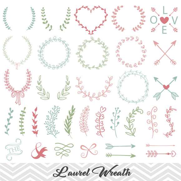 Hand Drawn Laurel Wreath Leaf Clipart, Laurel Wreath Clip Art, Leaf Laurel Branches Arrow Clipart, pink blue green, 00152