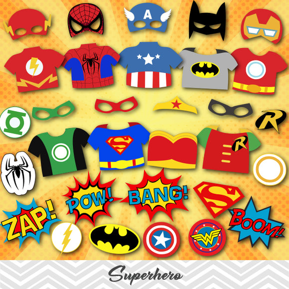Superhero Photo Booth Props, Printable Superhero Avengers Party PhotoBooth Props, 0374