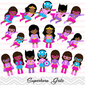 27 African American Superhero Girls Digital Clip Art, Little Girl Superhero Clipart, Avengers Clip Art, 00267