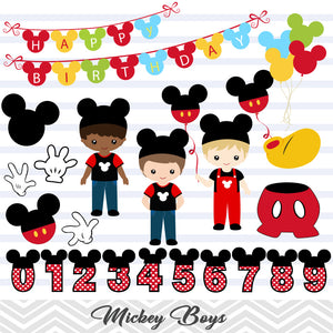 Mickey Birthday Digital Clip Art, Boy Mickey Birthday Party Clipart, 00268