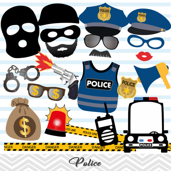 Police Party Photo Booth Props, Printable Cops and Robbers Party Photo Booth Props, 0402