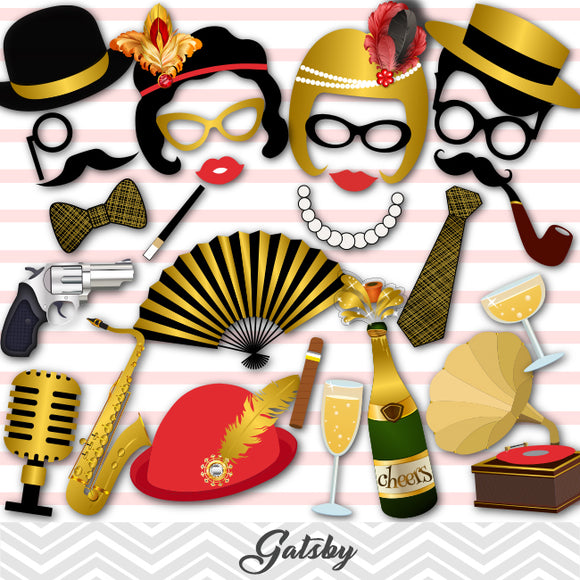 Gatsby Photo Booth Props, Printable Roaring 20s Party Photo Booth Props, 0312