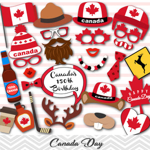 Happy Canada Day Photo Booth Props, Canada Travel Photo Booth Props, 0100