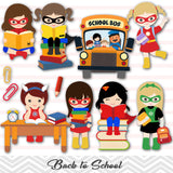Superhero Girls Back to School Clip Art, Superhero Girls School Day Clipart, 00244