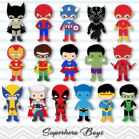 32 Little Boy Superher Digital Clip Art, Boys Superhero Clipart, Avengers Clip Art, 00265