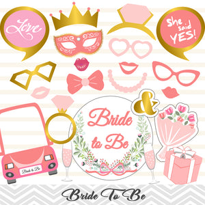 Bridal Shower Photo Booth Props, Printable Bride To Be Party Photo Booth Props, 0406