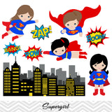 Super Woman Digital Clip Art, Superman Clipart, Supergirl Clipart, 0187