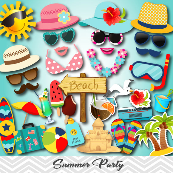 Summer Party Photo Booth Props, Printable Beach Party PhotoBooth Props, 0074