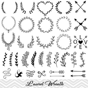 Laurel Wreath Clip Art, Laurel Wreath Leaf Clipart, Hand Drawn Leaf Laurel Branches Clip Art, 00159