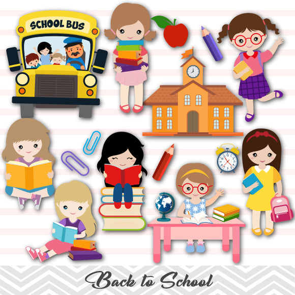 Girls Back to School Clip Art, Girls School Day Clipart, 00242