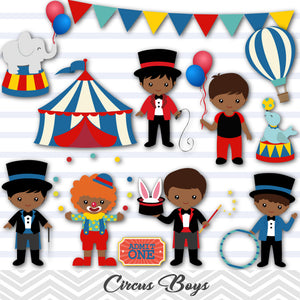 African American Circus Clip Art, Circus Boys Clipart, Carnival Clipart, 00223