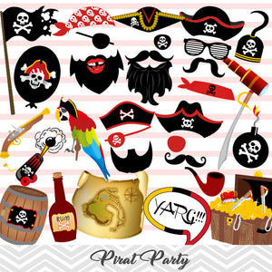 Pirate Photo Booth Props, Printable Pirate Party Photo Booth Props, 0020