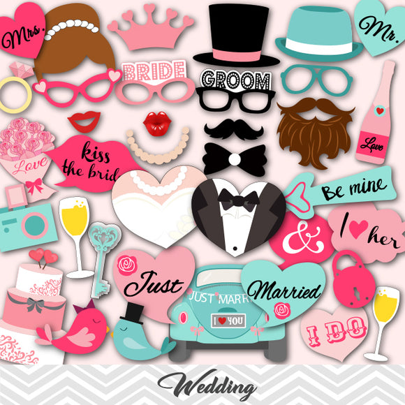 Wedding Party Photo Booth Props, Printable Bride and Groom Party Photo Booth Props, 0024