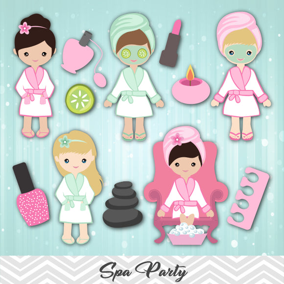 Spa Girls Digital Clip Art, Girls Spa Party Clipart, 00182