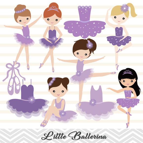 Purple Ballerina Digital Clip Art, Purple Ballet Dancer Clipart, Purple Ballet Girl Clipart, 00180