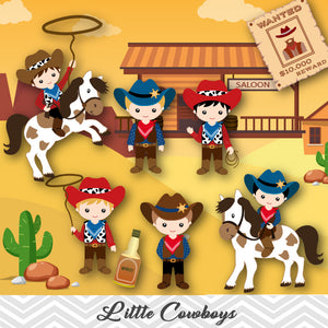 Cowboy Clip Art, Wild West Clipart, Cute Little Boy Cowboy Clipart, 00185