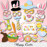Happy Easter Photo Booth Props, Spring Easter Party Photo Booth Props, 0155