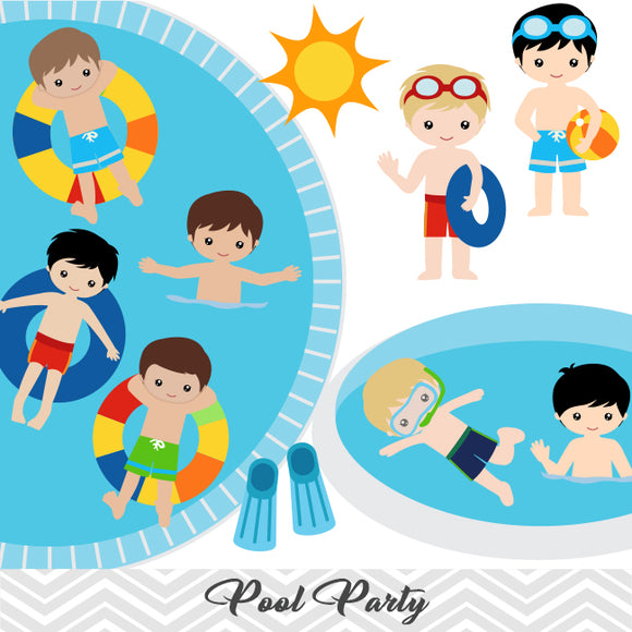 Boys Pool Party Clip Art, Boys Swim Party Clipart, Summer Pool Party Clipart, 00198