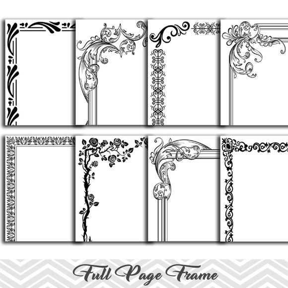 8 Black Full Page Border Clip Art, Full Page Border Clipart, 0113