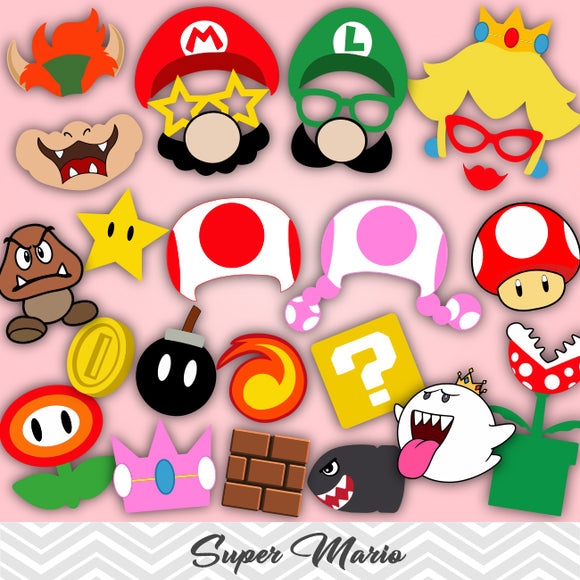 Super Mario Photo Booth Props, Printable Super Mario Party PhotoBooth Props, 0054