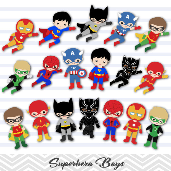 27 Superhero Boys Digital Clip Art, Little Boy Superhero Clipart, Avengers Clip Art, 00190