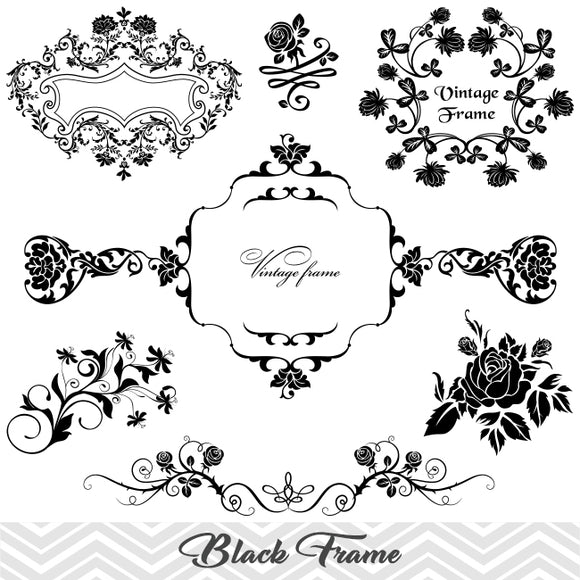 Flower Frame Border Clipart, Flower Flourish Swirl Frame Clip Art, Scrapbook Embellishment  Decor, 00020