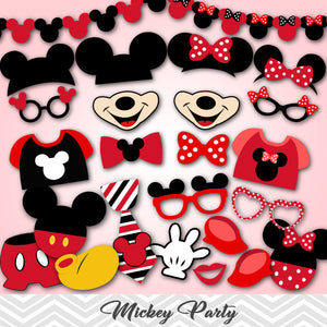 Mickey Photo Booth Props, Red Minnie Photo Booth Props, 0412