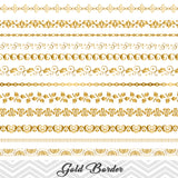 GOLD Border Clip Art, Flourish Swirl Border, Gold Flower Border Scrapbooking Embellishments Decor 00107