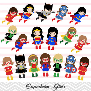 27 Superhero Girls Digital Clip Art, Little Girl Superhero Clipart, Avengers Clip Art, 00186