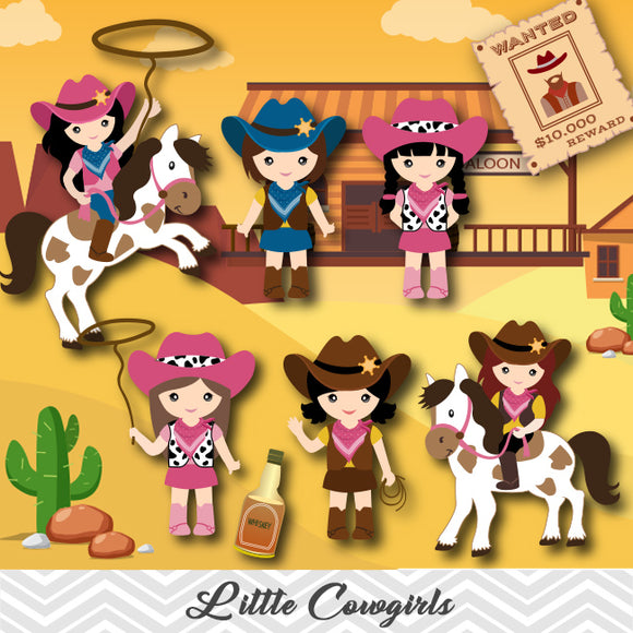Cowgirls Clip Art, Wild West Clipart, Cute Little Girl Cowboy Clipart, 00183