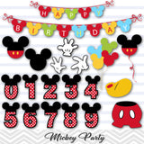Mickey Birthday Digital Clip Art, Mickey Party Clipart, 00167