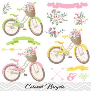Digital Floral Bicycle Clip Art, Wedding Clip Art, Bicycle Clipart, Flower Clip Art, Banner Arrow Clipart 0151