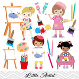 Little Artist Clip Art, Girls Art Party Clipart, Painting Party Clipart, 00168