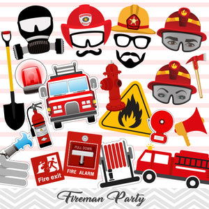 Fireman Photo Booth Props, Printable Firefighter Photo Booth Props, 0200