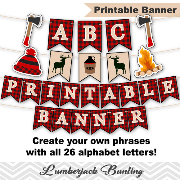 Printable Lumberjack Bunting, Digital Woodland Banner, Printable Lumberjack Party Banner,Woodland Birthday Party Bunting, 0289