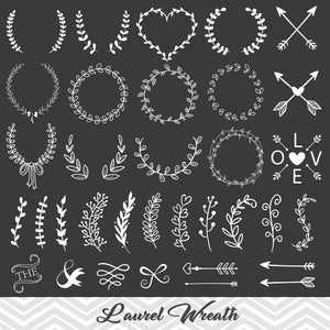 Chalkboard Laurel Wreath Leaf Clipart, Laurel Wreath Clip Art, Chalkboard Leaf Laurel Branches Arrow Clipart, 00150
