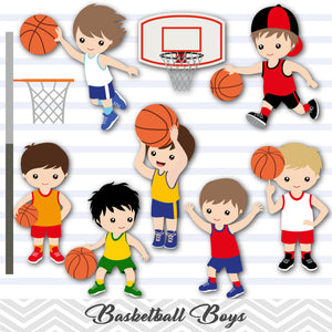 Boys Basketball Digital Clip Art, Sport Boys Basketball Team Clipart, 00259