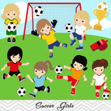Girls Soccer Digital Clip Art, Sport Girls Soccer Team Clipart, 00257