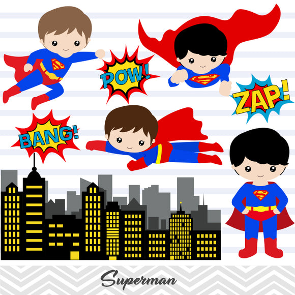 Superman Digital Clip Art, Superhero Clipart, 0184