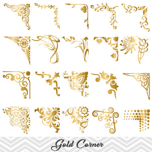 Golden Digital Frame Corner Ornate, Gold Flourish Swirl Border Corner ClipArt, 00024