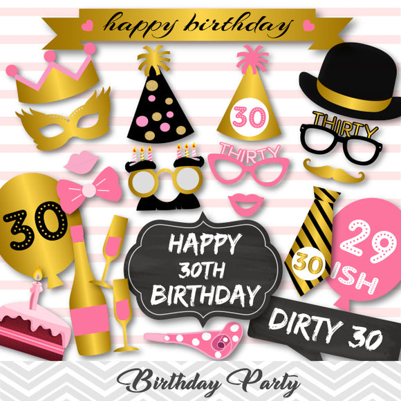 30th Birthday Photo Booth Props, Gold Pink Thirty Birthday Party Photo Booth Props, 0405