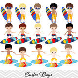 Surfing Boy Digital Clip Art, Summer Beach Party Clipart, Surfer Boy Clip Art, 00165