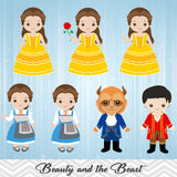 Beauty and the Beast Digital Clip Art, Princess Belle Clipart, 00142